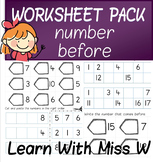 Number Before to 10, 20 and 50 Worksheet Pack