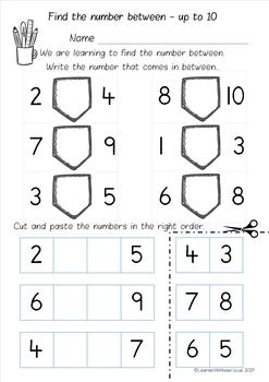 Number Between to 10, 20 and 50 worksheet pack