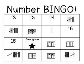 Number Bingo 0-20 using tallies, ten frames and numerals
