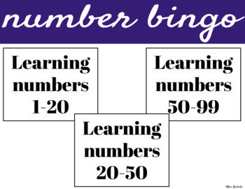 Number Bingo 1-20,  20-50 & 50-99 (BUNDLE)