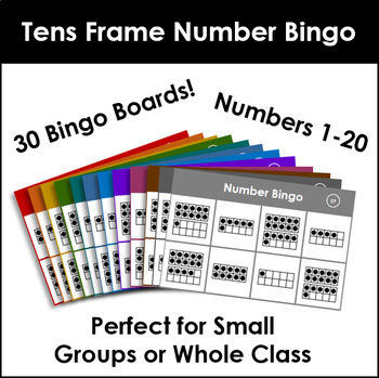 Number Bingo 1-20. Up to 30 players! Tens Frames.