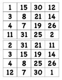 Number Bingo 1 to 31