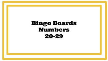 Number Bingo Game 20-29