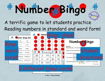 Number Bingo! 5 Card Game for Math Learning Center or Voca