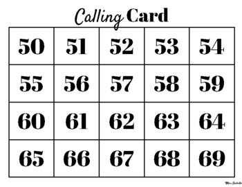 Number Bingo 50-99