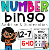 Number Bingo- Addition and Subtraction (Kindergarten, First, Second Grade)