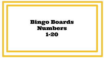 Number Bingo Game 1-20