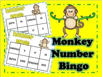 Monkey Number Bingo