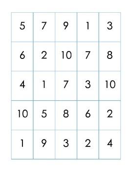 Number Bingo, Numbers 1-10