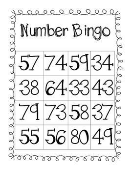 Number Bingo - Numbers 30-80