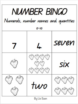 Number Bingo- Numerals, number names and quantities