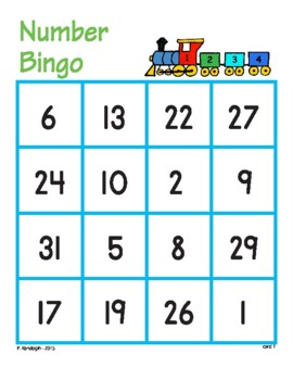 Number Bingo with 1-31 - whole class set
