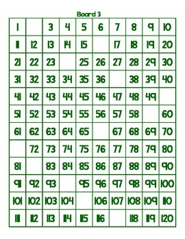 Number Board 1-120 Fill In the Missing Numbers Activity or Center