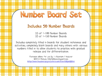 Number Board Board Set, 100 and 120 number boards