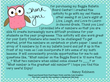 Addition and Subtraction Boggle Bulletin Board - Owl Theme
