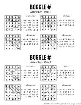 Number Boggle Complete Package (40 Weekly Worksheets & Boggle # Board Tiles)