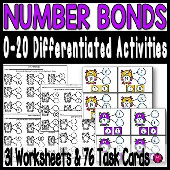 Number Bonds to 20 Worksheets Tasks and Centers