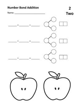 Number Bond Addition Practice or Assessment  for 1 - 10