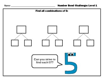 Number Bond Combinations: Level 1