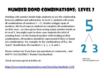 Number Bond Combinations: Level 2