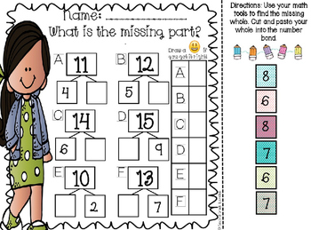 Number Bond Cut and Paste Activity EDITABLE Sums to 20