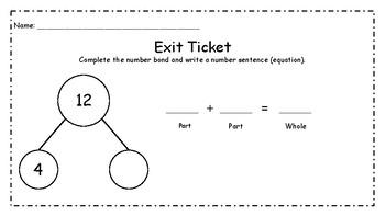 Number Bond Exit Slips