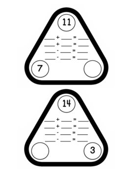 Number Bond Fact Family Flash Cards