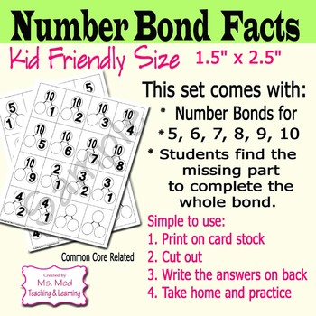 Number Bond Flash Cards Mental Math Practice: Fact Families