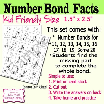 Number Bond Flash Cards Mental Math Practice: Fact Families of 11 to 20