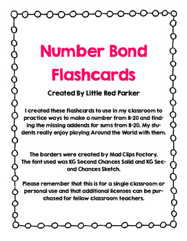 Number Bond Flashcards 11-20