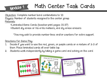 Number Bond Game/Task Cards (Engage New York, Module 1)