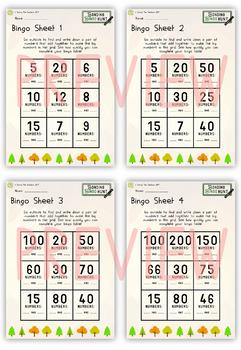 Number Bond Outdoor Bingo Activity (Bonds 5 - 200)