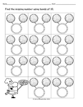 Number Bond Pizza Worksheet and Work Mat
