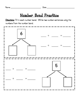 Number Bond Practice Set #s 5-10