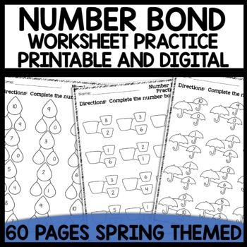 Math Worksheets Number Bond Practice [Spring Themed]