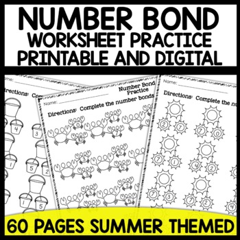 Number Bond Practice Sheets (Summer Themed)