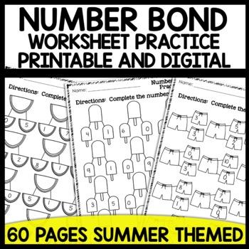 Math worksheets Number Bond Practice [Summer Themed]