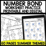 Math worksheets Number Bond Practice [Summer Themed]