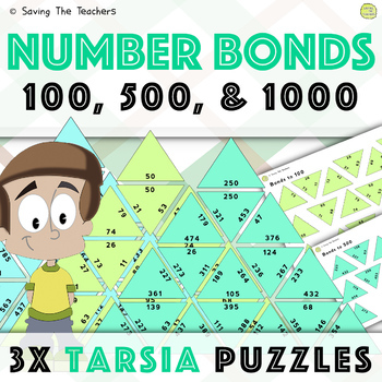 Number Bond Tarsia Puzzles: 100, 500, and 1000
