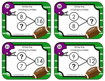 Number Bond Task Cards 0-18  •  Fall Football