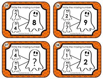 Number Bond Task Cards 0-18  •  Halloween Ghost