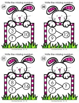 Number Bond Task Cards 0-18  •  Happy Bunny