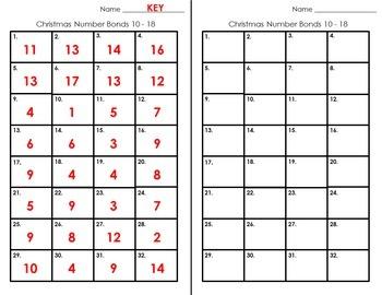 Number Bond Task Cards 0-18  •  Jolly Santa