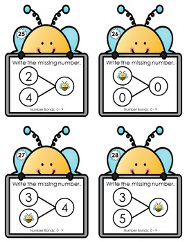 Number Bond Task Cards 0-18  •  Spring Bee