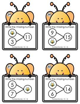 Number Bond Task Cards 0-18  •  Spring Bee