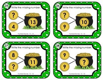 Number Bond Task Cards 0-18  •  St. Patrick's Day  -  Pot of Gold