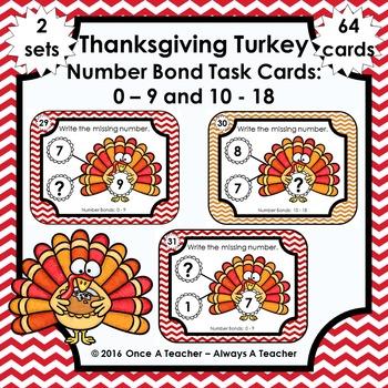 Number Bond Task Cards 0-18  •  Thanksgiving Turkey