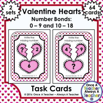 Number Bond Task Cards 0-18  •  Valentine's Day Hearts