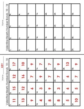 Number Bond Task Cards 0-18  •  Valentine's Day Hearts