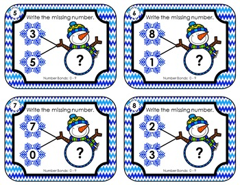 Number Bond Task Cards 0-18  •  Snowman